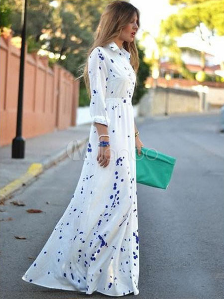 Long White Dress Polyester Long Sleeves Turndown Collar Maxi Dress