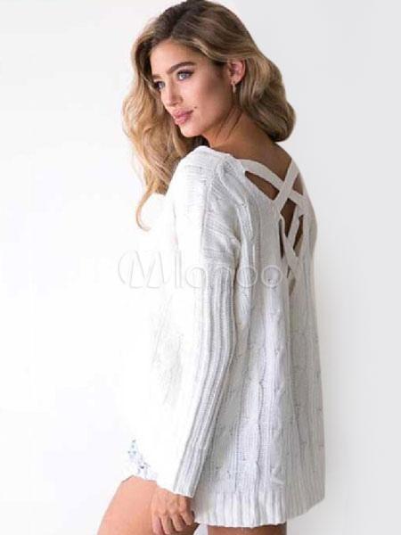 Manches Unicolore Pull Et Derrière Chic Long Longues Croisé Court Casual Blanc Femme Devant pzVSUqM