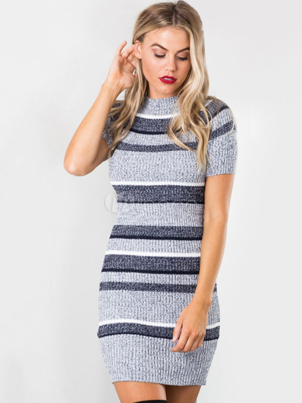 19647959930f ... Grey Knit Dress Round Neck Short Sleeve Striped Bodycon Dresses For  Women-No.2 ...