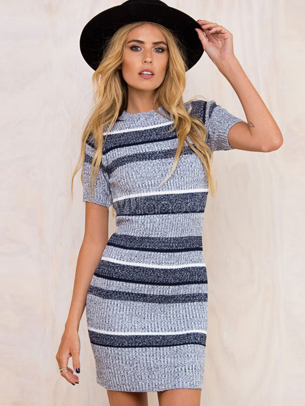 Grey Knit Dress Round Neck Short Sleeve Striped Bodycon Dresses For Women Cheap clothes, free shipping worldwide