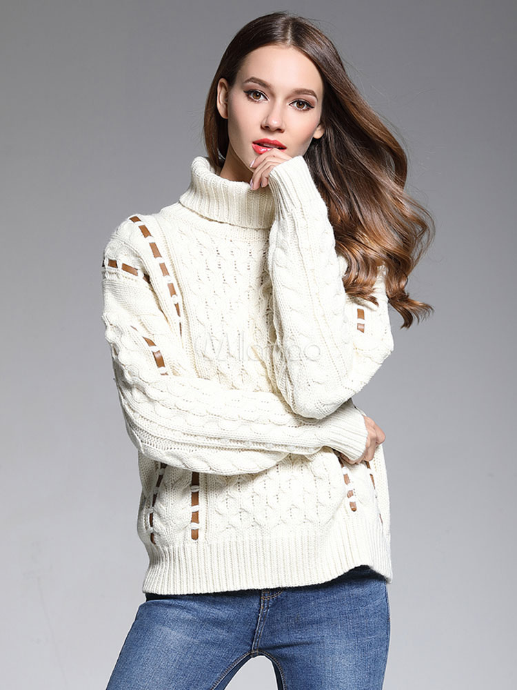 Buy White Pullover Sweater Turtleneck Long Sleeve Strappy Women's Sweater for $37.99 in Milanoo store