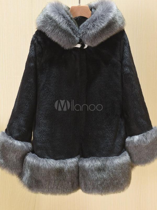 Buy Faux Fur Coat Black Hooded Long Sleeve Two Tone Women's Winter Coat for $90.24 in Milanoo store