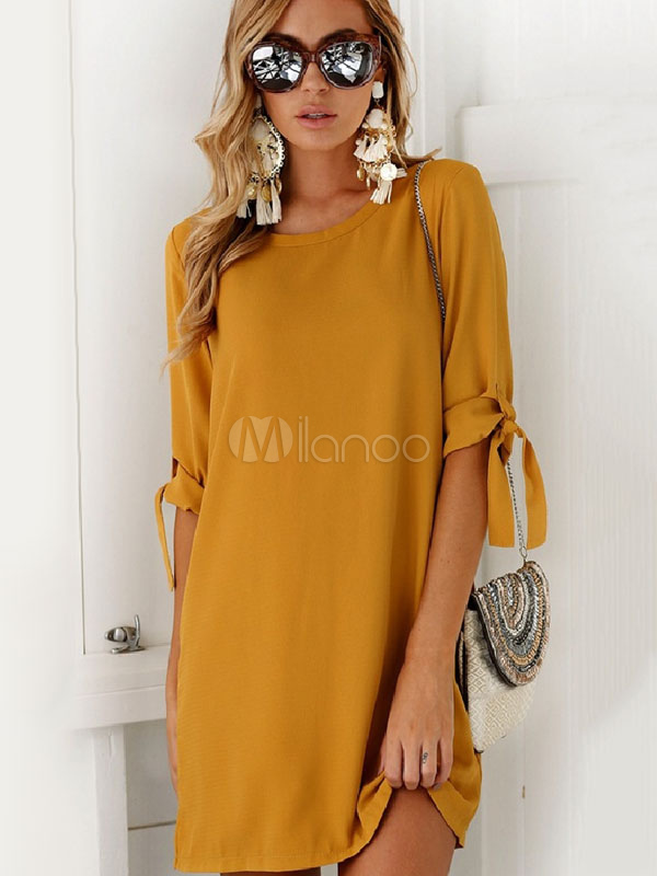 Buy Women Summer Dress Khaki Shift Dress Round Neck Half Sleeve Short Dresses for $19.99 in Milanoo store
