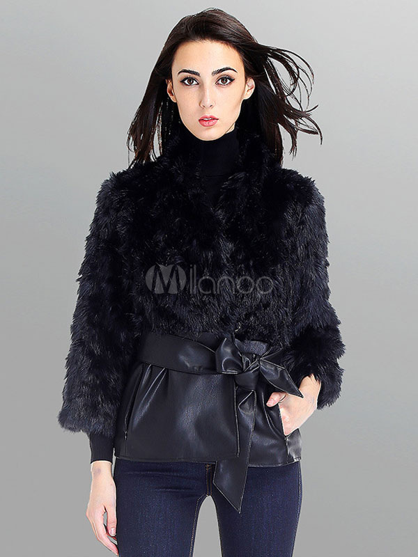Buy Faux Fur Coat Black Stand Collar Long Sleeve PU Buckled Women's Winter Coat for $67.49 in Milanoo store