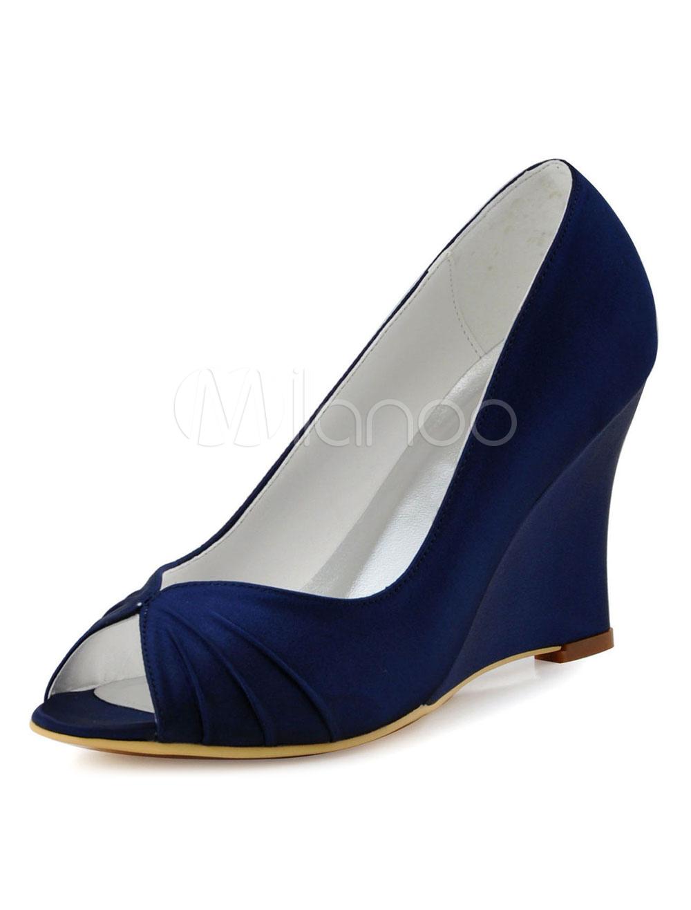 Zapatos de tacón de cuña de punter Peep Toe de seda sintética elegantes Fiesta de bodas UWfIDfK0