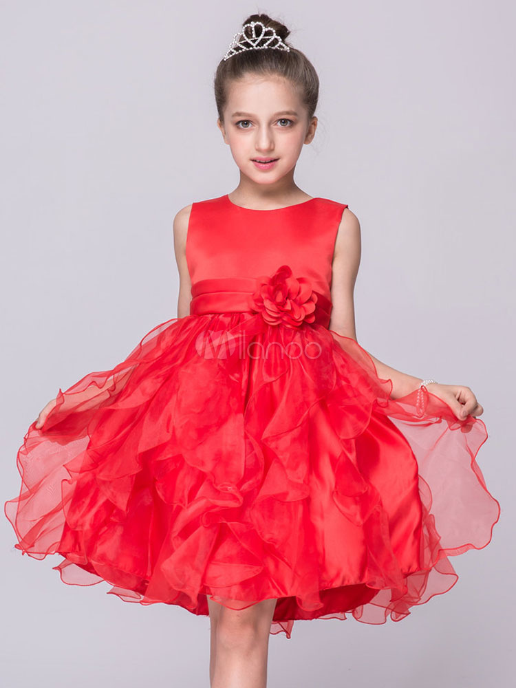Buy Flower Girl Dresses Red Round Neck Sleeveless Princess Layered Tutu Dress Organza Knee Length Kids Pageant Dress for $26.59 in Milanoo store