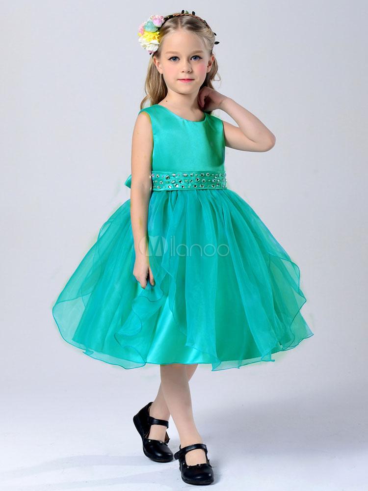 Buy Flower Girl Dresses Red Round Neck Sleeveless Princess Tutu Dress Tulle Sash Knee Length Dinner Party Dress for $23.74 in Milanoo store