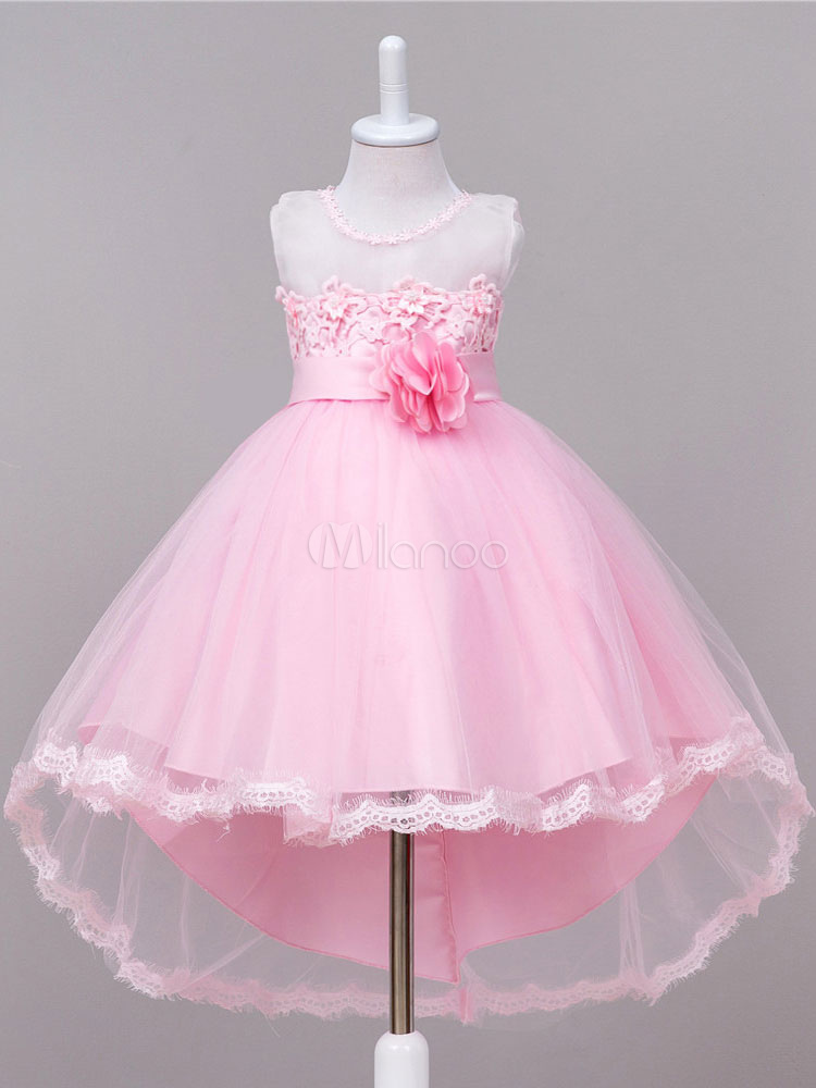 Flower Girl Dresses Pink Round Neck Sleeveless Princess Asymmetrical Tutu Dress Tulle Bows Flowers Knee Length Kids' Pageant Dress