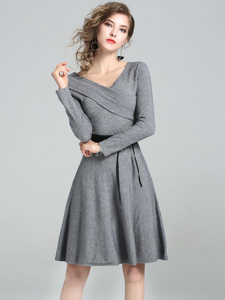 Buy Grey Skater Dress V Neck Long Sleeve Two Tone Asymmetrical Dresses For Women for $44.99 in Milanoo store