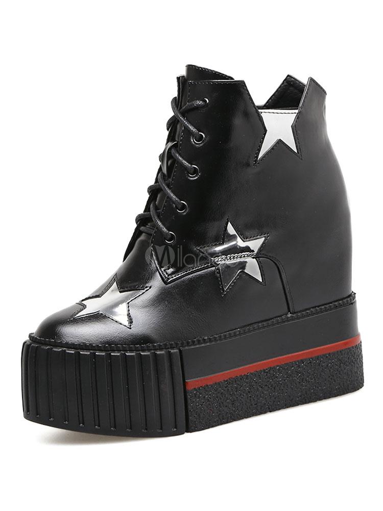 Zapatos de puntera redonda con cinta de PU con dibujo de estrellas estilo informalPlanos para pasar por la noche Otoño/Invierno IbI7lwrL5