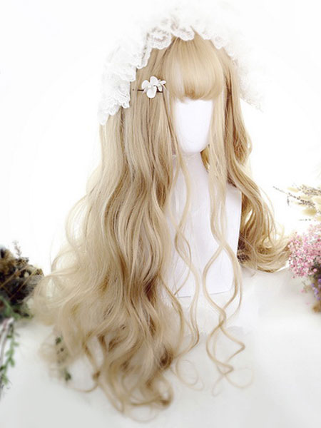 Rococo Lolita Wigs Light Gold Long Blunt Bangs Crimped Curls Anya Synthetic Hair Wigs