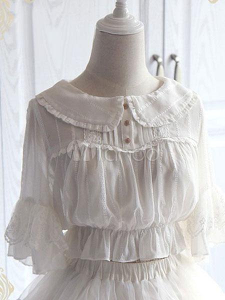 Buy Sweet Lolita Blouses Peter Pan Collar Half Sleeve Chiffon Lace Ruffles White Lolita Top for $47.69 in Milanoo store