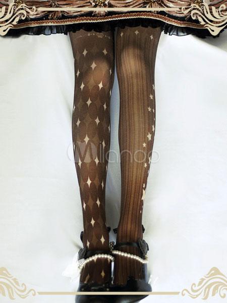 Gothic Lolita Tights Printed Velvet Deep Brown Lolita Pantyhose