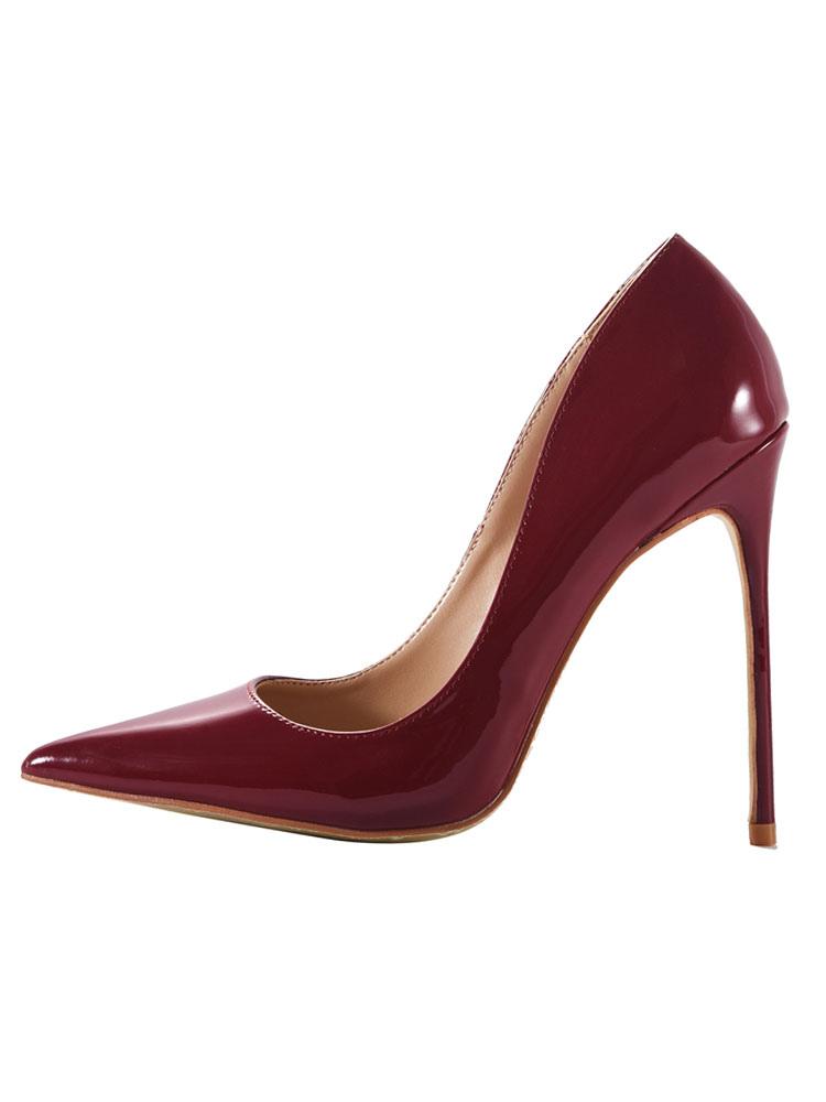 Zapatos de tacón de puntera puntiaguada de PU de colores dulces de tacón de stiletto f8mRFRsU