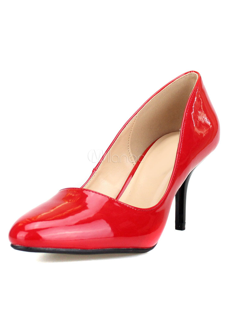 Zapatos de tacón medio de puntera puntiaguada de tacón de kitten estilo moderno Charol PU mYxCxY15j
