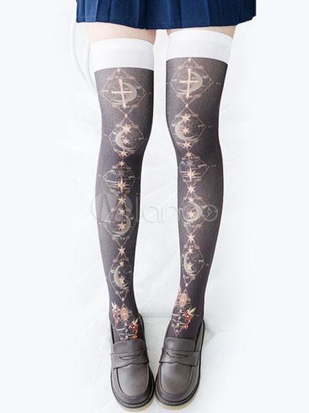 Buy Gothic Lolita Socks Tarot Stardom Print Black Lolita Knee High Socks for $13.79 in Milanoo store