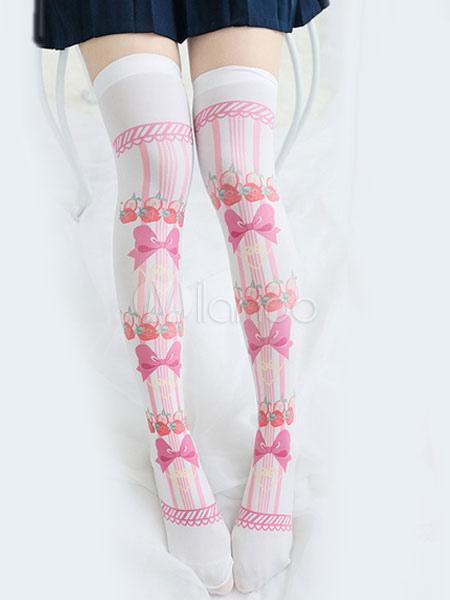 Buy Sweet Lolita Stockings Bows Print White Lolita Knee High Socks for $13.79 in Milanoo store