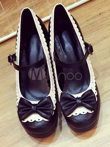 Sweet Lolita Shoes Black Chunky Heel Round Toe Bows Two Tone PU Lolita Pump Shoes