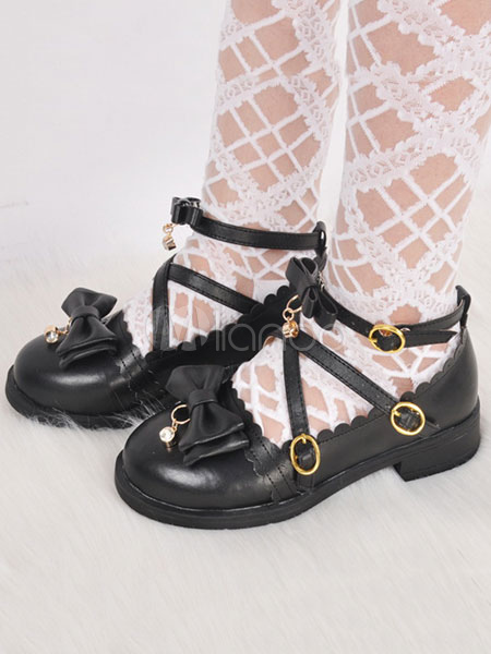 Buy Sweet Lolita Shoes Black Chunky Heel Round Toe Bows Strappy PU Lolita Pump Shoes for $38.69 in Milanoo store