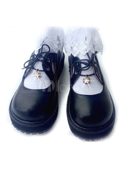 Buy Sweet Lolita Shoes Black Round Toe Lace Up Square Toe Platform PU Lolita Shoes for $32.19 in Milanoo store