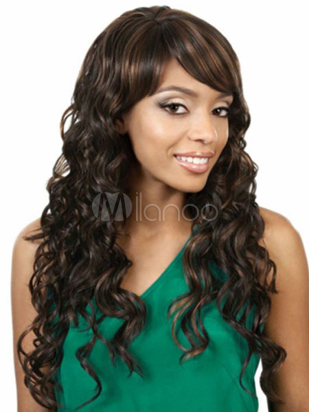 Buy Women's Synthetic Wigs Deep Brown African American Long Curly Layered Hair Wigs With Side Bangs for $21.15 in Milanoo store