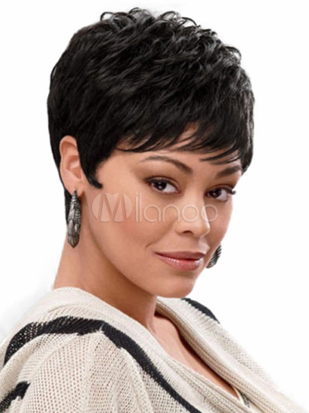 Human Hair Wigs Black African American Boycuts Layered Straight Short Wigs For Women