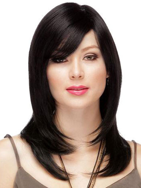 Human Hair Wigs Black Long Layered Straight Short Wigs With Side Bangs For Women