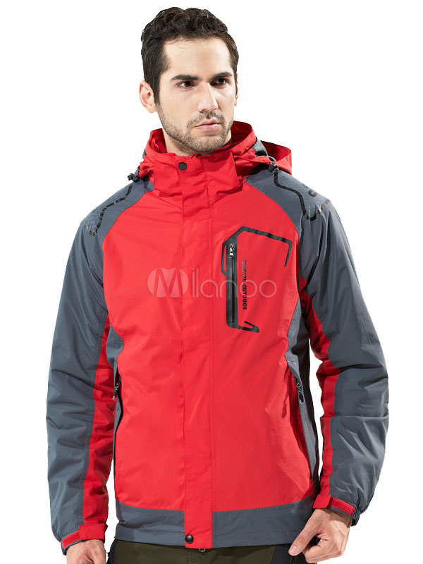 Buy Red Softshell Jacket Hooded Long Sleeve Color Block Hiking Rain Jacket For Men for $101.69 in Milanoo store