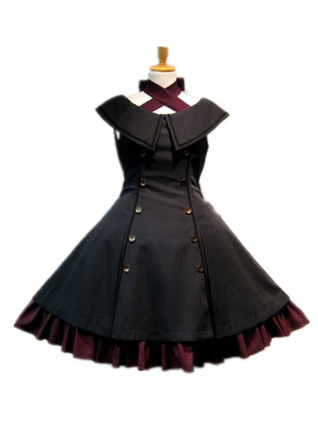 Buy Gothic Lolita JSK Jumper Skirt Sleeveless Ruffles Double Breasted Black Lolita Dresses for $99.99 in Milanoo store