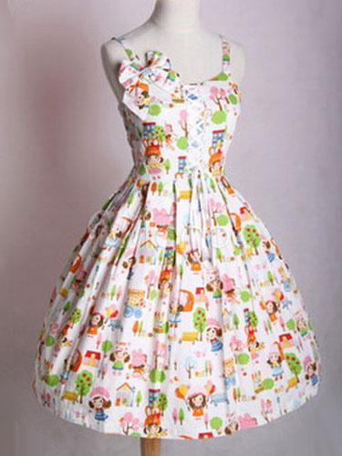 Buy Sweet Lolita JSK Jumper Skirt Light Green Floral Print Sleeveless Bows Lolita Dresses for $129.59 in Milanoo store