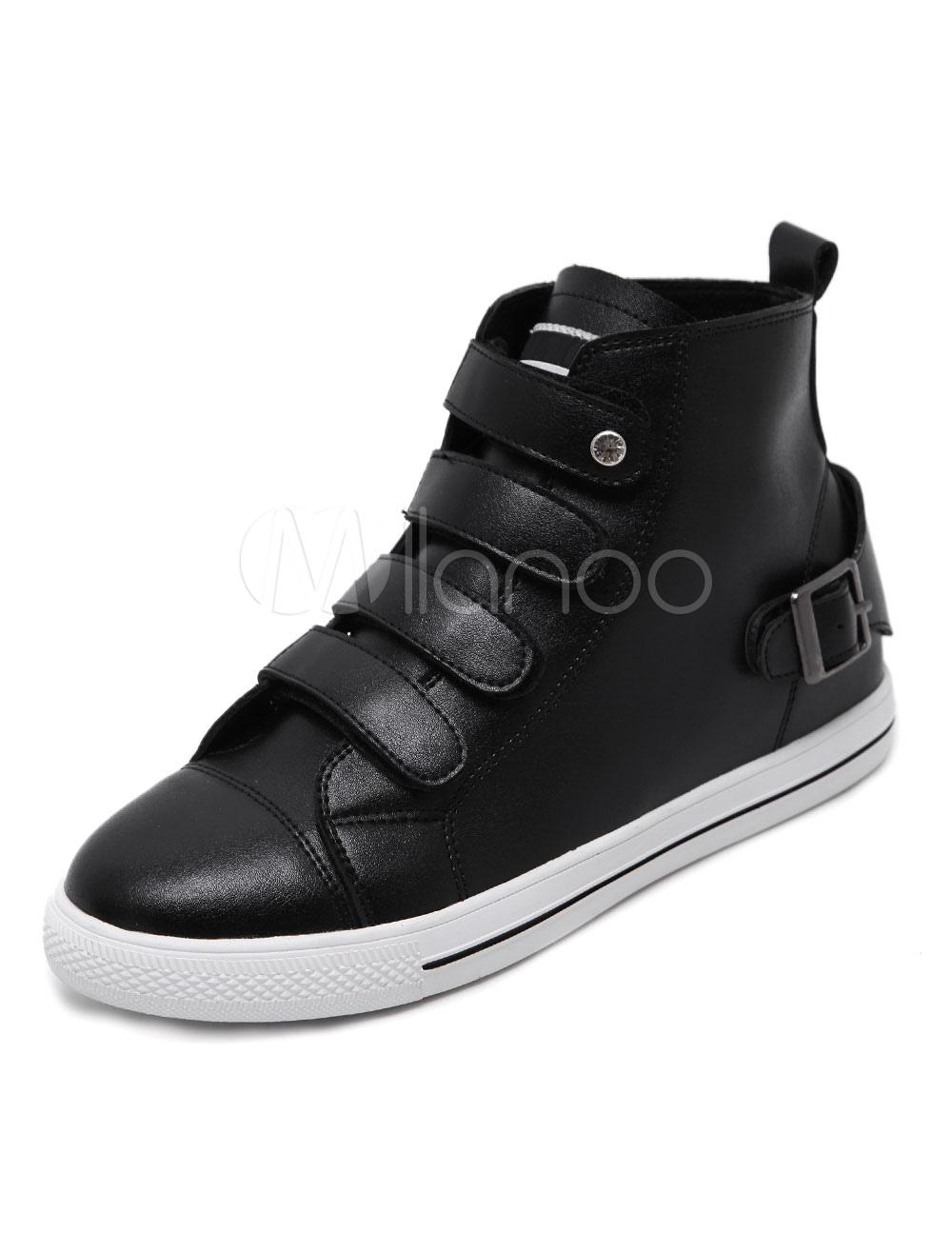 Women's Black Sneakers Round Toe Buckle Detail High Top Sneakers