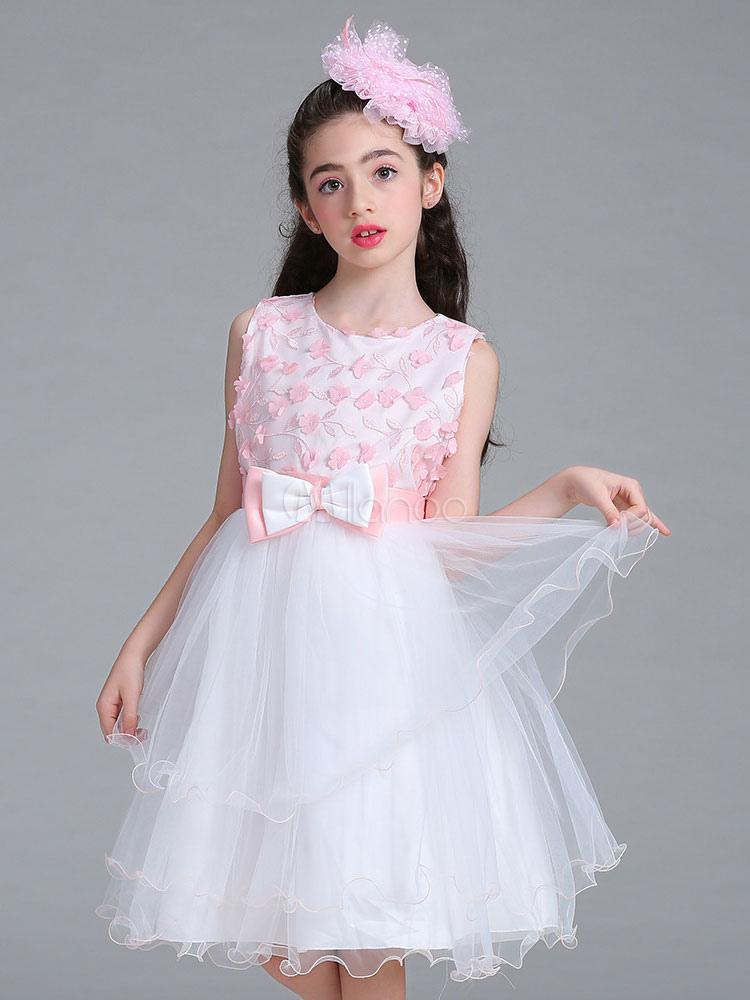 3eb2108cdddb Flower Girl Dresses Pink Round Neck Sleeveless Princess Tutu Dress Tulle Bows  Applique Knee Length Dinner ...