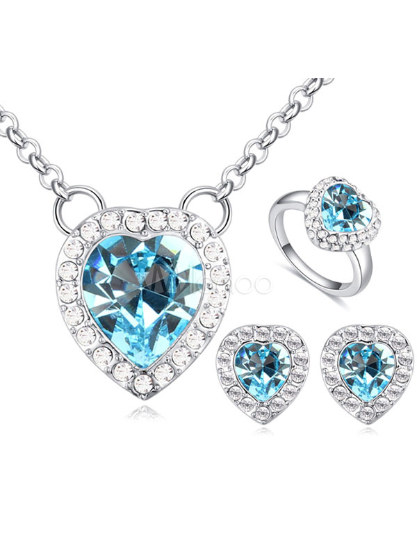 Buy Wedding Jewelry Set Crystal Heart Stud Earrings Bridal Rings Necklace Set for $66.49 in Milanoo store