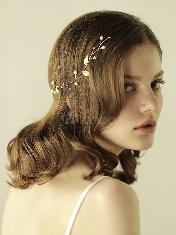 Buy Leaf Wedding Headpieces Gold Headband Bridal Hair Accessories for $10.44 in Milanoo store