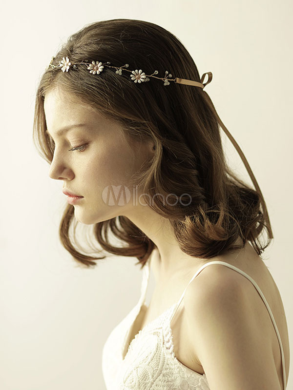 Buy Gold Wedding Headpieces Flower Headband Bridal Hair Accessories for $12.34 in Milanoo store