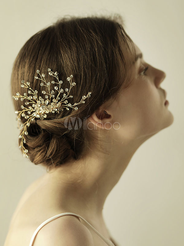 Buy Comb Wedding Headpieces Gold Crystal Branch Bridal Hair Accessories for $18.04 in Milanoo store