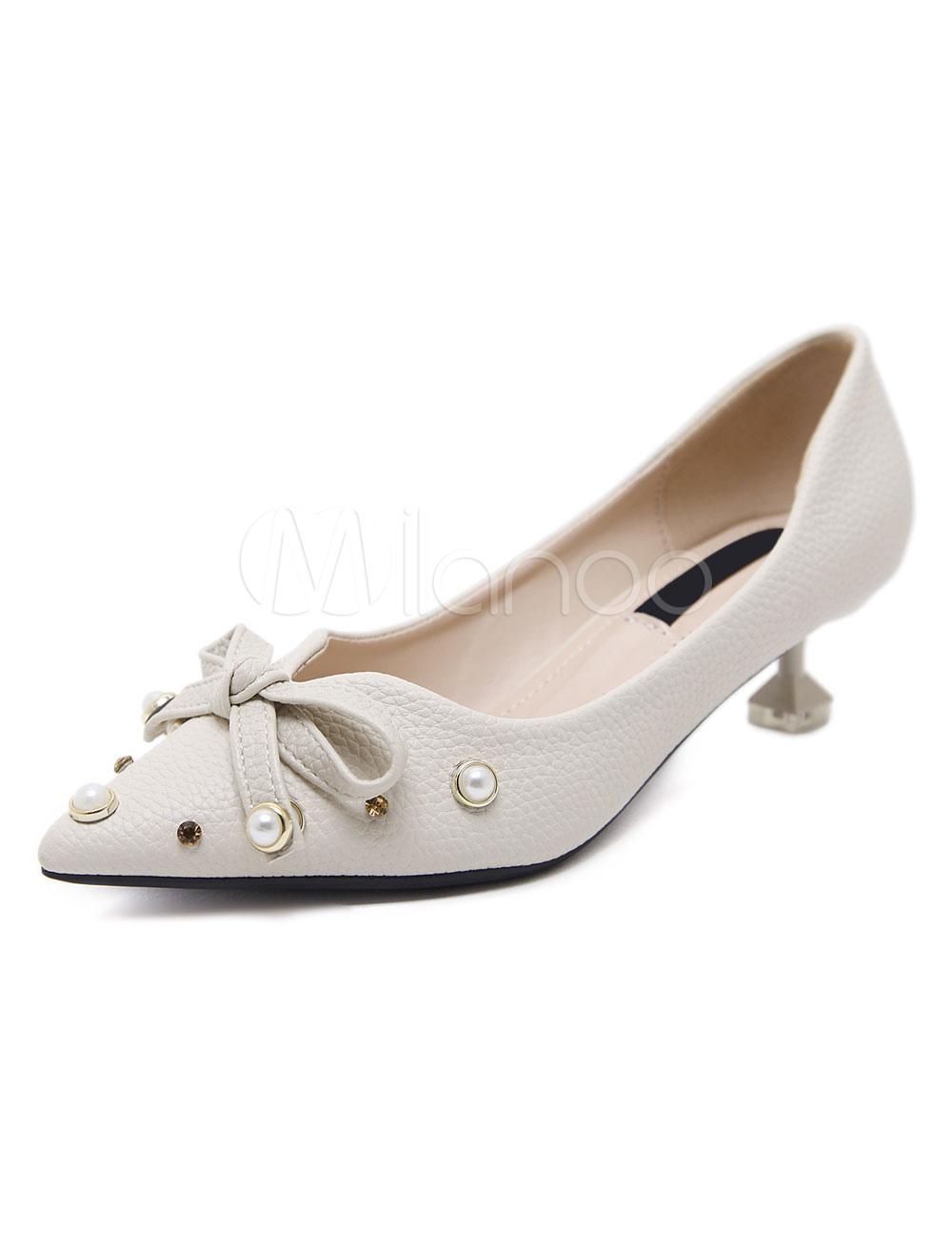 Scarpe con tacchi alti · Media · Tacchi medi decolletè pU donna fiocchi  perle a punta tacco basso e fino 5cm -No ... b4d8a88cb0a