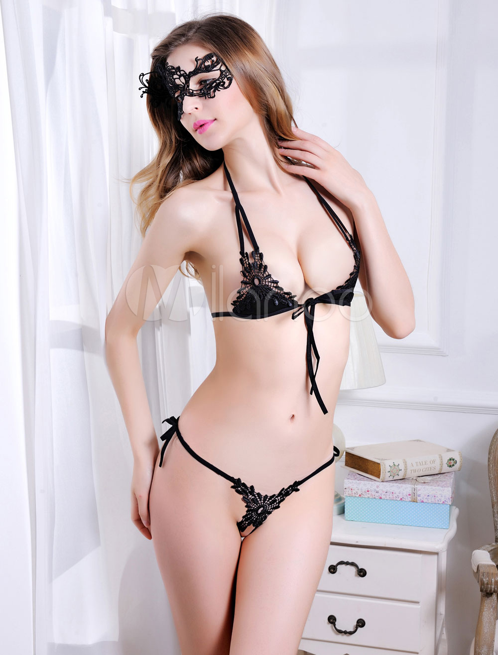 Black Bra Set Lace Sexy Women's Bralette With T Back