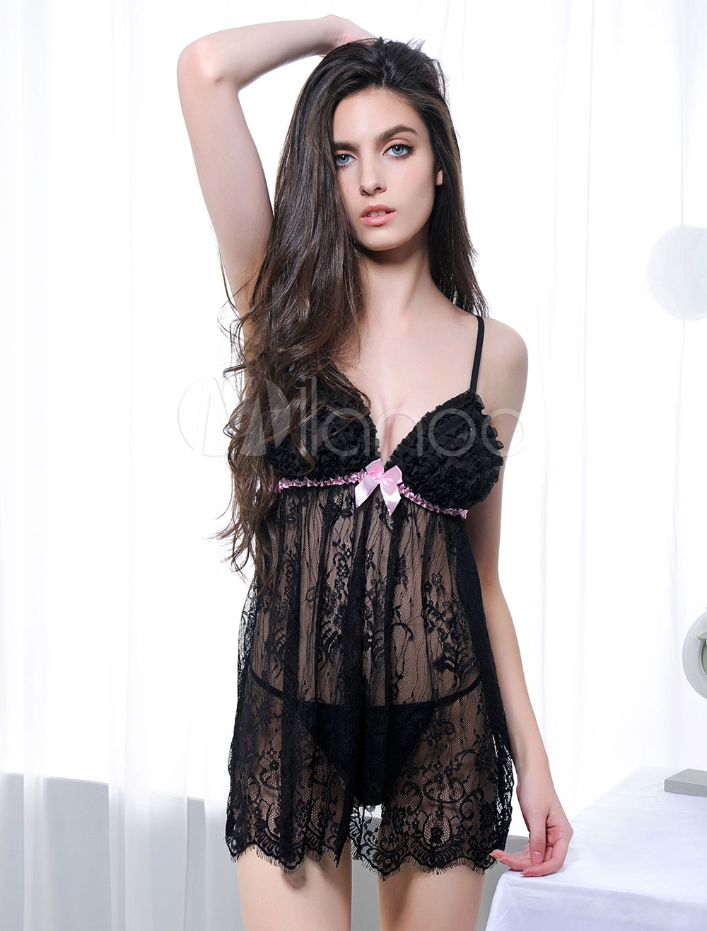 177c0e39bdd Black Sexy Lingerie Set Lace Ruffles Two Tone Babydoll Dress With Panties  For Women