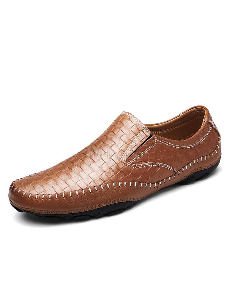 Men's Casual Shoes Deep Brown Round Toe Plaid Leather Slip On Flat Shoes