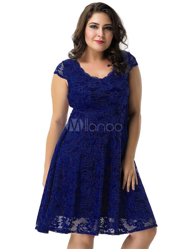 0b3b356065 Plus Size Dress Lace Deep Blue V Neck Short Sleeve Backless Skater Dresses  For Women- ...