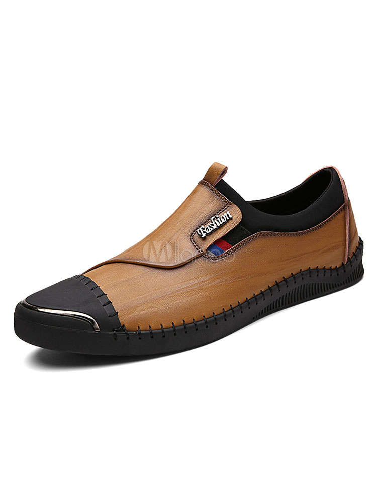 Deep Brown Casual Shoes Cowhide Men's Round Toe Metal Detail Slip On Shoes
