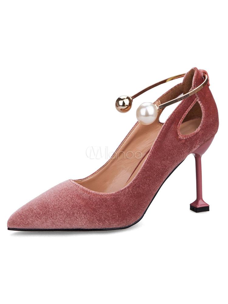 Zapatos de tacón de puntera puntiaguada de pana Color liso de tacón de stiletto PKVHbOkSir