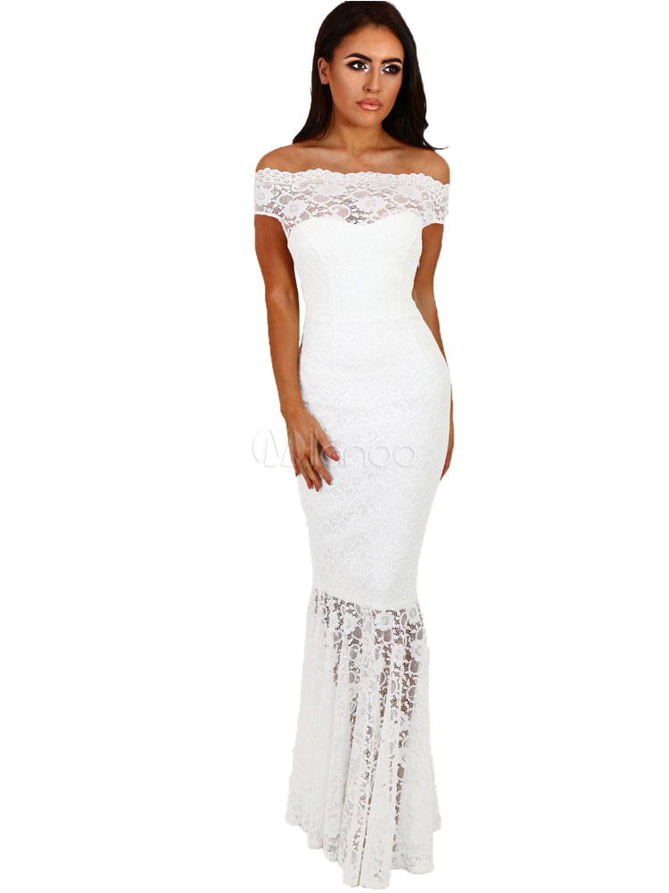 9b1be08f693 White Long Dress Lace Off The Shoulder Short Sleeve Slim Fit Mermaid Maxi  Dress-No ...