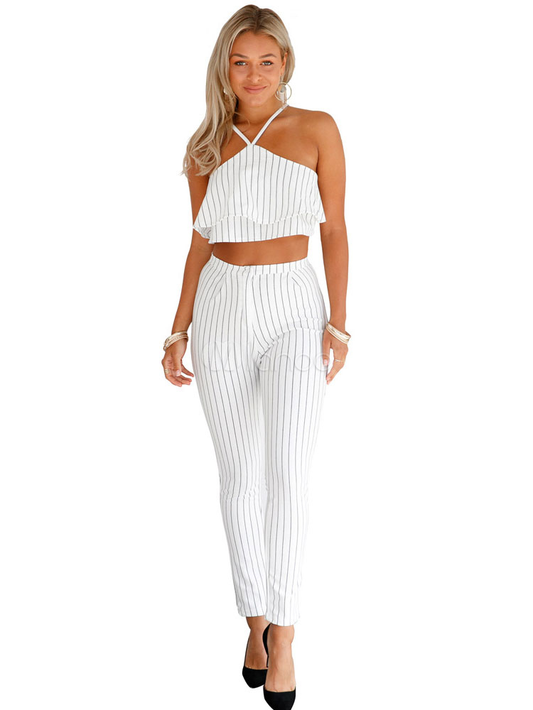 Buy Sexy White Outfit Striped Spaghetti Strappy Backless Frill Crop Top With Skinny Pants for $29.99 in Milanoo store