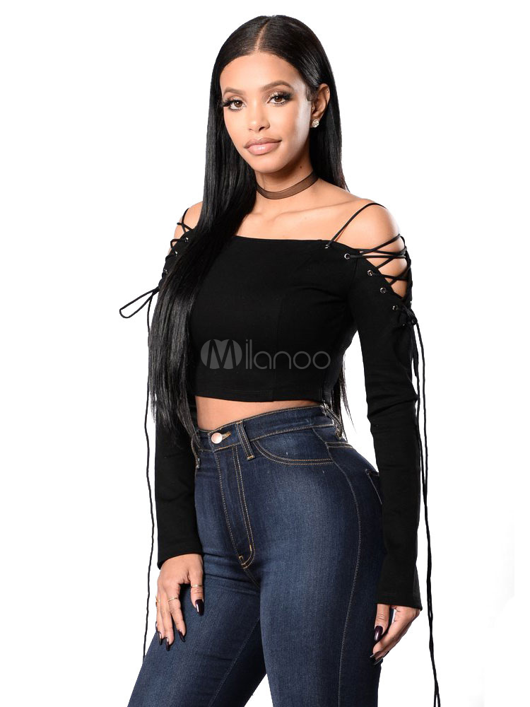 1602257b040bfe Black Crop Top Off The Shoulder Strappy Lace Up Long Sleeve Women s Sexy T  Shirt- ...