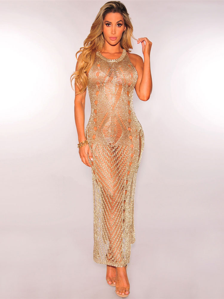 ee171ae3aba2 Gold Club Dress Round Neck Sleeveless Semi Sheer Metallic Crochet Split  Long Dresses For Women- ...