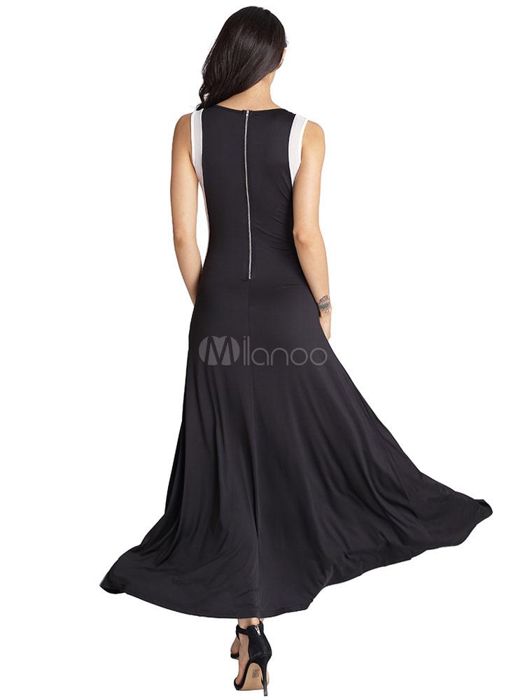 robe longue noir en polyester bicolore col rond. Black Bedroom Furniture Sets. Home Design Ideas