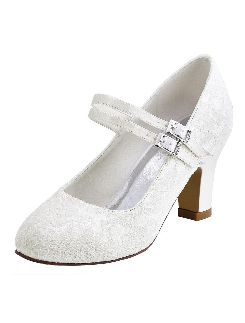 Zapatos de novia 2018 de marfil Zapatos de novia de punta redonda Mary Jane VqadefuZf9