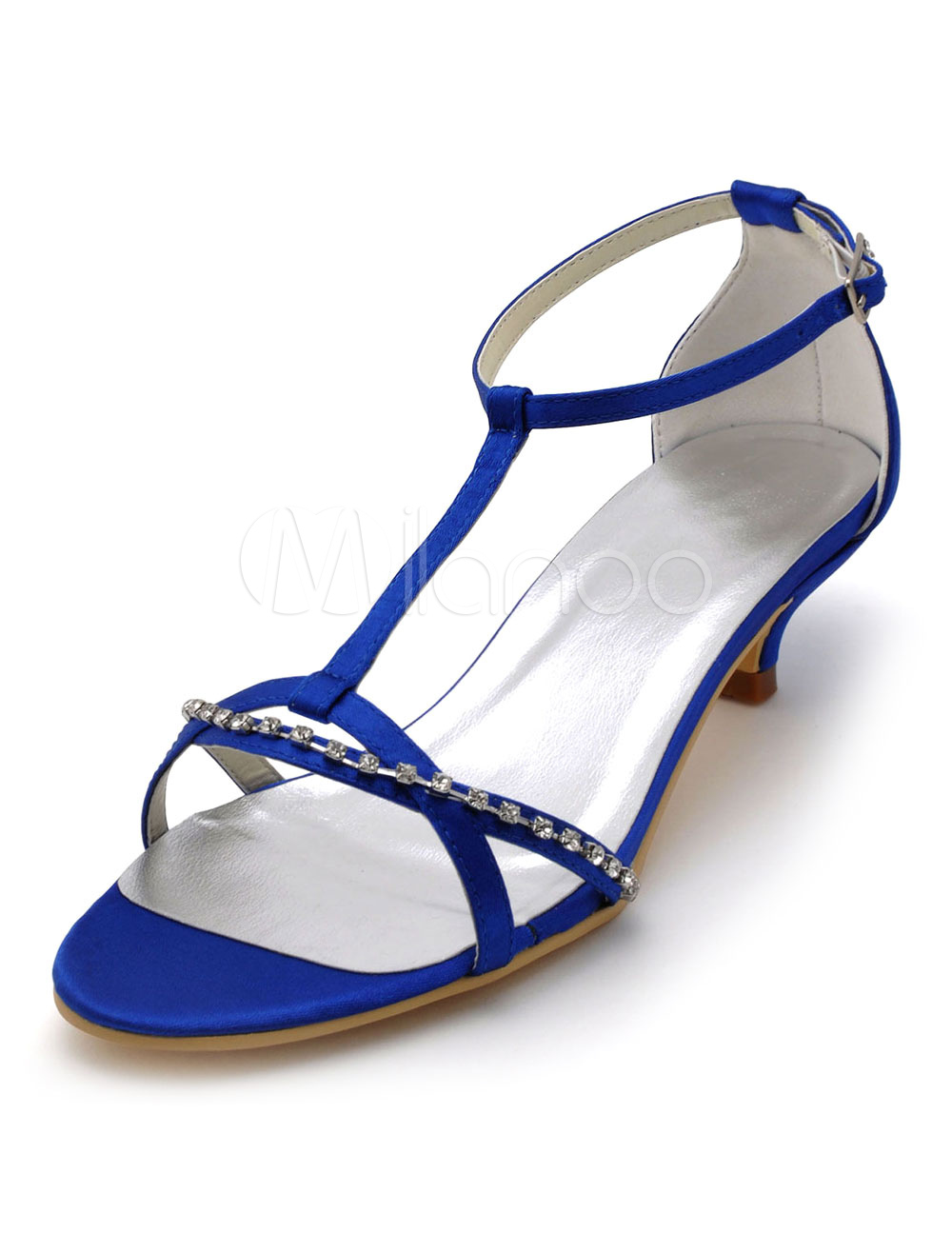 Royal Blue Wedding Shoes Women's Open Toe Rhinestones Bridal Sandals